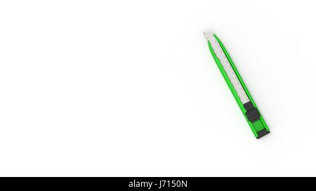 The 3d rendering of nice green utility knofe with white background - Stock Photo