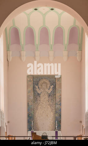 Wellington, New Zealand - March 10, 2017: Altar, Pixelated backdrop of Christ and pastel colored ceiling at Saint - Stock Photo