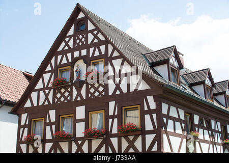 Cute Bavarian Tudor style houses, Germany - Stock Photo