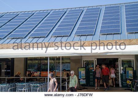 Miami Beach Florida Whole Foods grocery store supermarket entrance front roof solar panels - Stock Photo
