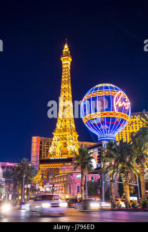 LAS VEGAS, NEVADA - MAY 17, 2017: Las Vegas boulevard lit up at night with hotels and resorts casinos in view. - Stock Photo