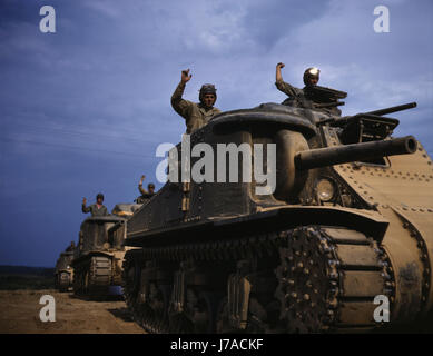 June 1942 - M3 tanks in action, Fort Knox, Kentucky. - Stock Photo