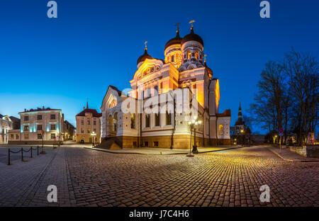 Panorama of Alexander Nevsky Cathedral in the Evening, Tallinn, Estonia - Stock Photo