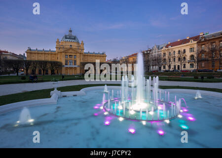 Art pavillion during sunset in town Zagreb, Croatia - Stock Photo