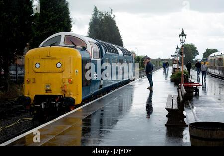 Class 55 Deltic diesel locomotive No  55018 'Ballymoss' at the Severn Valley Railway, Kidderminster, UK - Stock Photo
