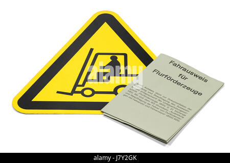 German driving license for forklift trucks isolated on white background - Stock Photo