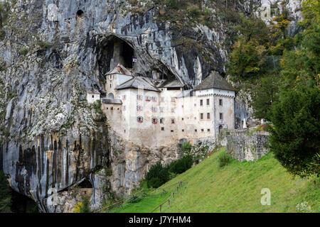 Cave castle Lueg, predjamski grad, Predjama, near Postojna, Slovenia - Stock Photo