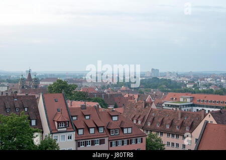 Blick von der Nürnberger Burg auf die Skyline von Nürnberg. View from Nuremberg Castle, Bavaria, Germany, in the - Stock Photo