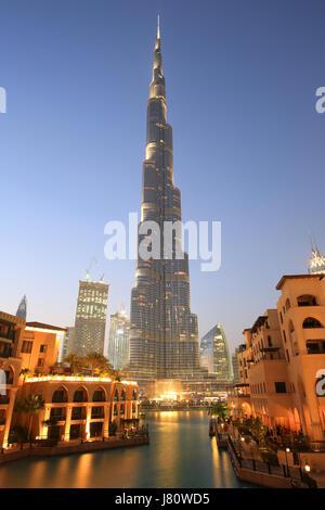 Dubai Burj Khalifa Downtown skyscraper night twilight blue hour UAE - Stock Photo