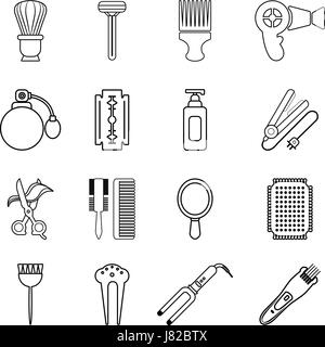 Hairdresser icons set, outline style - Stock Photo