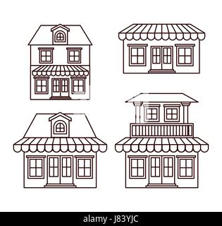 monochrome background with set of houses with sunshades - Stock Photo