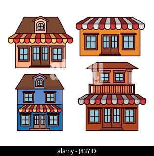 background with colorful set of houses with sunshades - Stock Photo