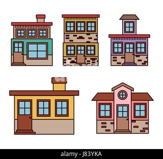 background with colorful set of houses facades - Stock Photo