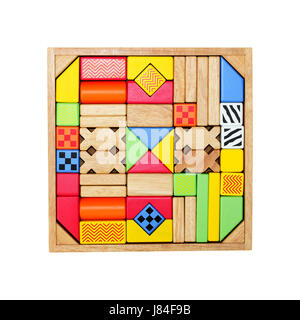 build toy blocks childhood wooden building blocks construction building blue - Stock Photo