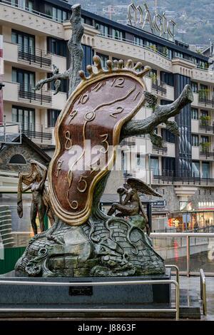 Nobility of Time, La Noblesse du Temps, sculpture of Dalí,  Andorra La Vella, Andorra. - Stock Photo