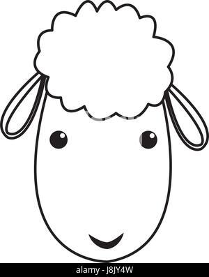 sheep manger christmas character line - Stock Photo