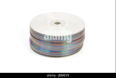 stack, dvd, CD, discs, heap, pile, blue, PC, computers, computer, music, - Stock Photo