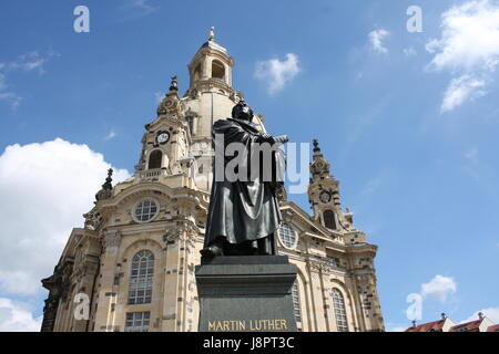statue Martin Luther in the center of old town in Dresden, Germany - Stock Photo