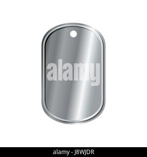 dog tags military isolated. death medallion. Soldiers badge isolated. Iron War medal on white background - Stock Photo