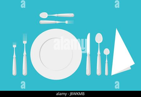 Table etiquette. Cutlery. Forks, spoons and knives - Stock Photo