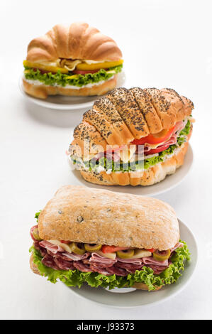 cheese, sandwich, ham, snack, salad, food, aliment, bread, leaf, isolated, - Stock Photo