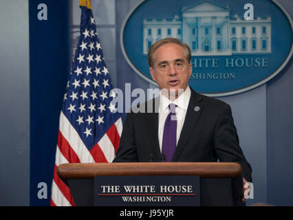 Washington DC, June 5, 2017, USA: Veterans Affairs Secretary, David Shulkin talks about making veterans easier to - Stock Photo