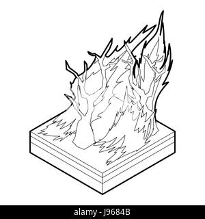 Forest fire icon, outline style - Stock Photo