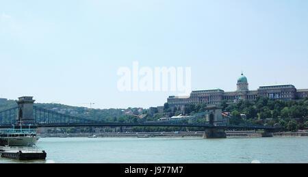 chain bridge with castle hill - Stock Photo