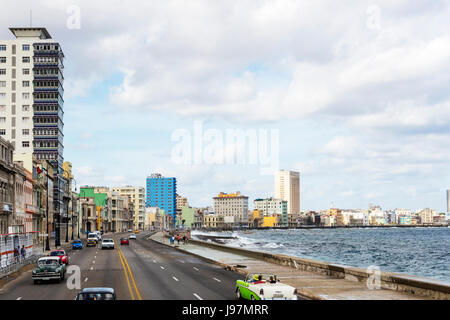 The Malecon Havana Cuba, Habana malecon, The Malecon, Seafront Promenade, Centro Habana, Havana, Cuba, La Habana, - Stock Photo