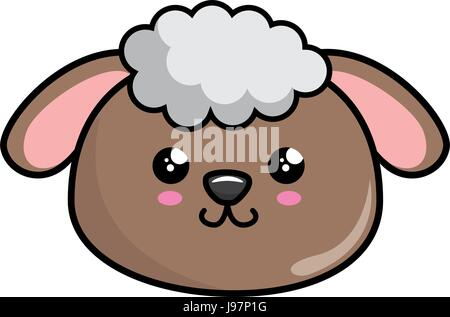kawaii sheep icon - Stock Photo