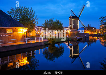 Leiden by night,  town in Netherlands, May 2017 - Stock Photo