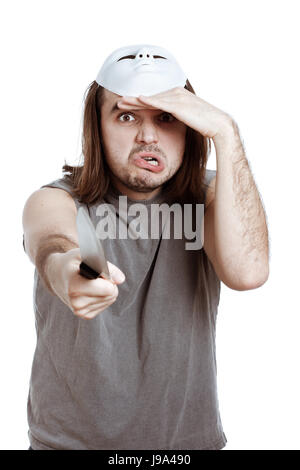 scary, horror, masked, crazy, raving, furious, angry, irately, aggressive, - Stock Photo