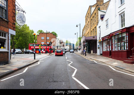 View north along Highgate High Street in Highgate Village, London, UK - Stock Photo