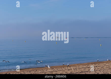 Fisherman boat on catalan coast in very calm morning May 17, 2017 in Catalonia,Spain - Stock Photo
