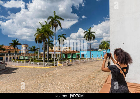 A view of the Plaza Mayor in Trinidad, UNESCO World Heritage Site, Cuba, West Indies, Caribbean, Central America - Stock Photo