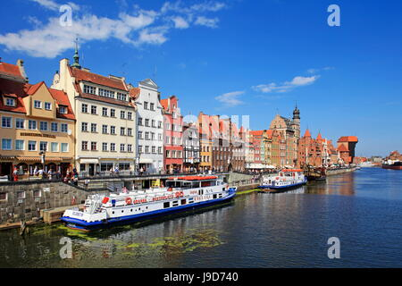 Motlawa Riverbank with the Old town of Gdansk, Gdansk, Pomerania, Poland, Europe - Stock Photo