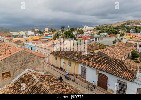 A view of the Plaza Mayor, Trinidad, UNESCO World Heritage Site, Cuba, West Indies, Caribbean, Central America - Stock Photo
