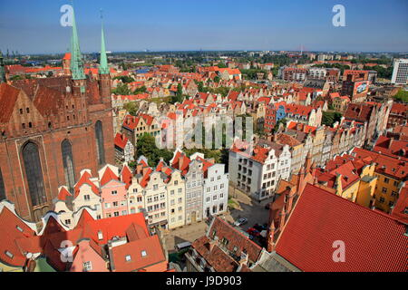 Old Town with Church of St. Mary in Gdansk, Gdansk, Pomerania, Poland, Europe - Stock Photo