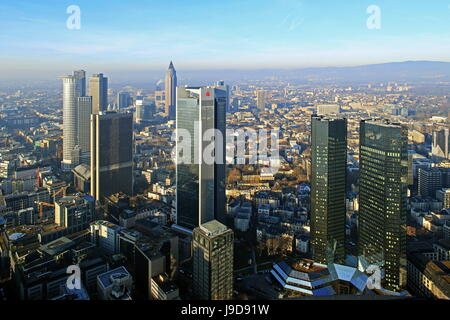 View from Maintower to Financial District, Frankfurt am Main, Hesse, Germany, Europe - Stock Photo