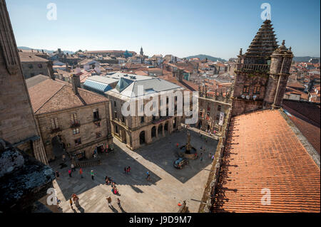 View from the roof of the Cathedral of Santiago de Compostela, UNESCO, Santiago de Compostela, A Coruna, Galicia, - Stock Photo