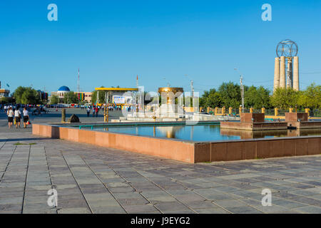 Central square and fountain, Turkistan, South region, Kazakhstan - Stock Photo