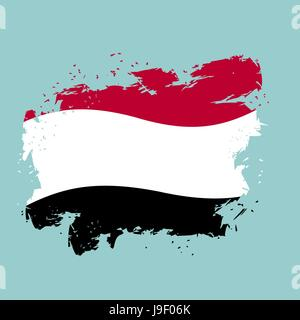 Yemen flag grunge style on blue background. Brush strokes and ink splatter. National symbol of Yemeni government - Stock Photo