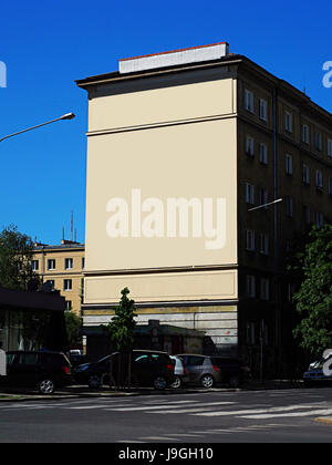 Mock up, Blank Billboard Signs for advertisement on the wall of high building with blue sky in the city. - Stock Photo