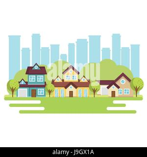 Colorful houses design - Stock Photo