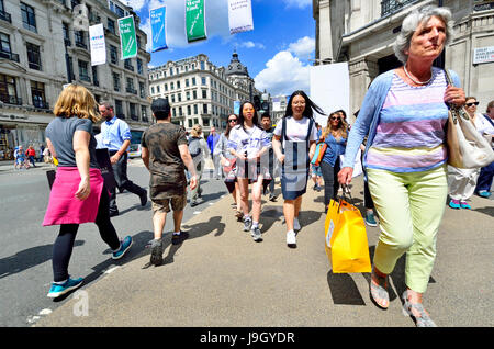 London, England, UK. People in Regent Street - Stock Photo