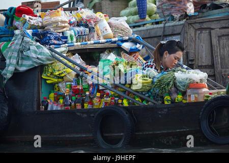 Shop on boat at Cai Rang floating market, Can Tho, Mekong Delta, Vietnam - Stock Photo