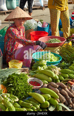 Woman selling fresh produce, Cho An Binh Market, Can Tho, Mekong Delta, Vietnam - Stock Photo
