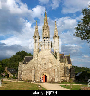 France, Morbihan, stop on the Way of St James, Le Faouet, St Fiacre chapel XVth century - Stock Photo