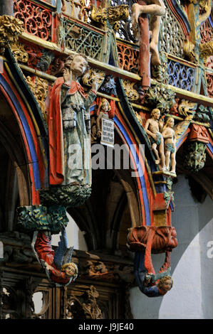 France, Morbihan, stop on the Way of St James, Le Faouet, St Fiacre chapel XVth century, polychromatic wooden jubee, - Stock Photo