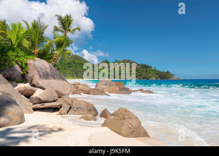 Excellent tropical beaches, Intendance beach, Mahe island, Seychelles. - Stock Photo